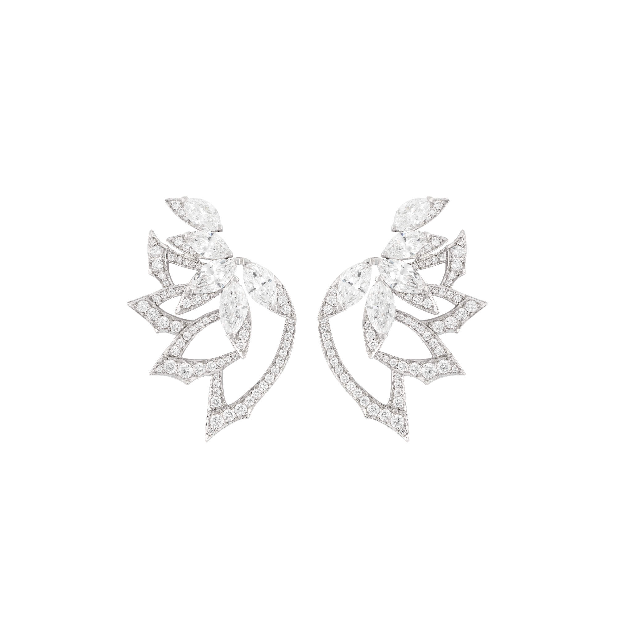 White Gold Plumage Earrings With White Diamond | Magnipheasant