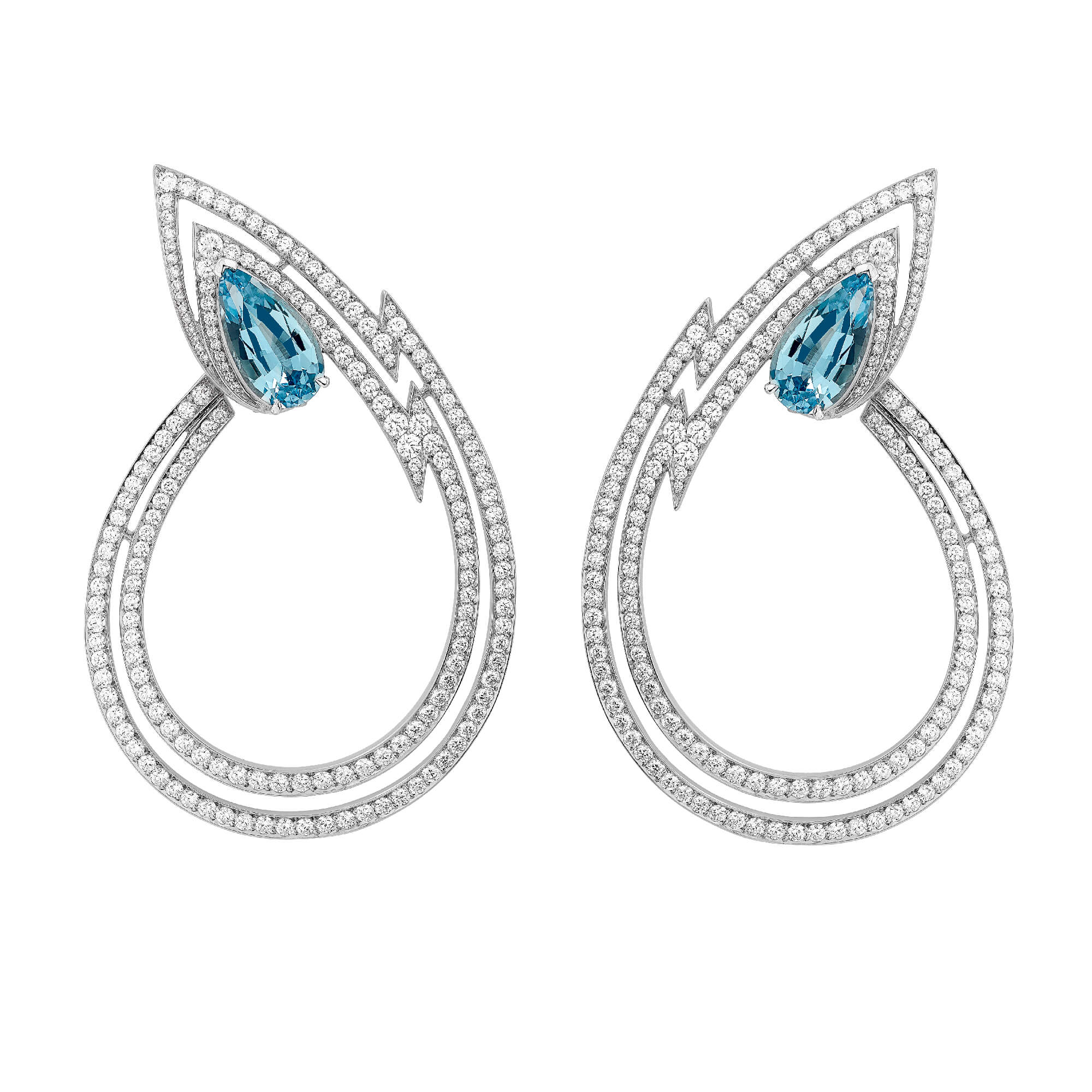 Lady Stardust Hoop Aquamarine Earrings | No Regrets