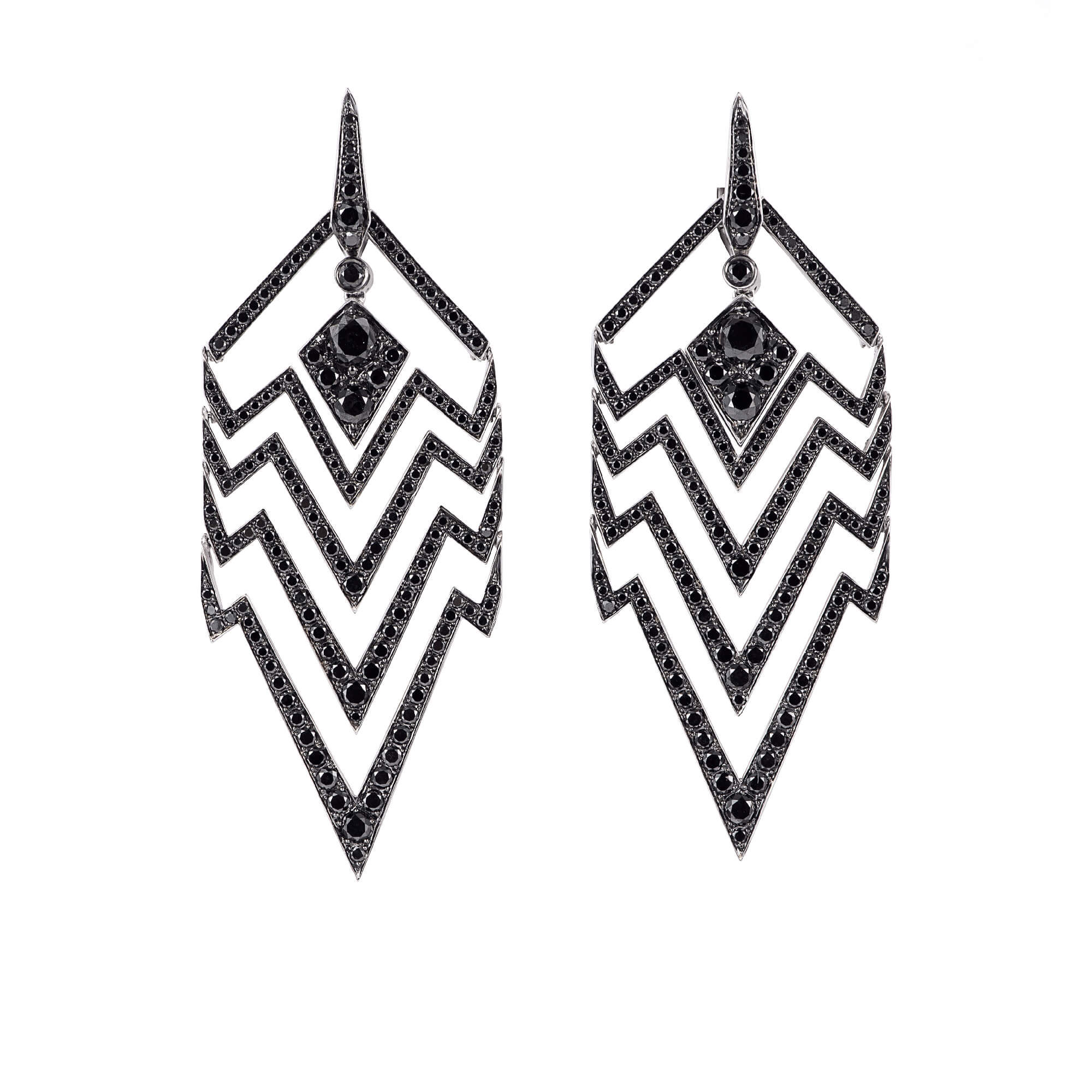 White Gold & Black Diamond Earrings | Lady Stardust