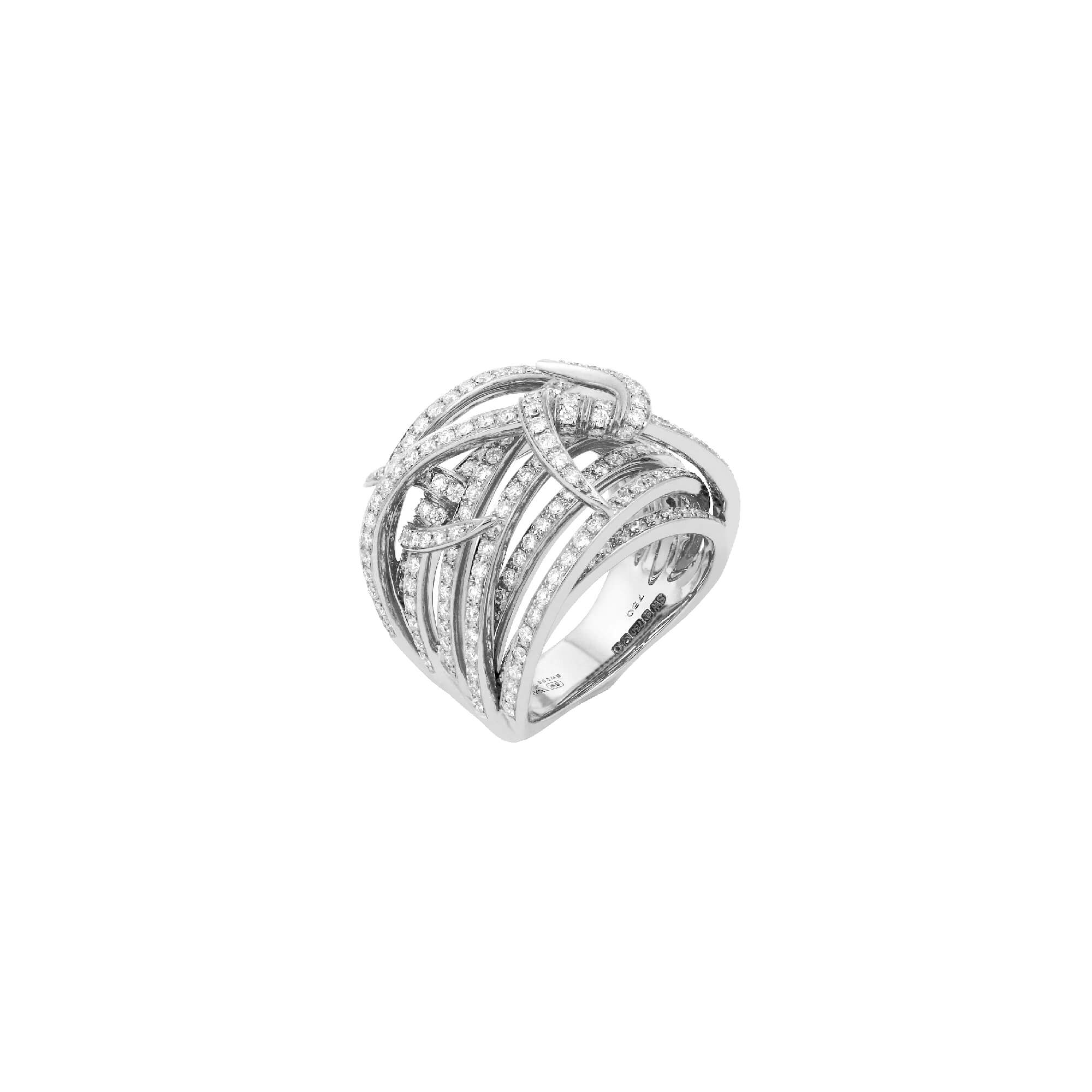 White Gold and Diamond Knot Bandeau Ring | Thorn
