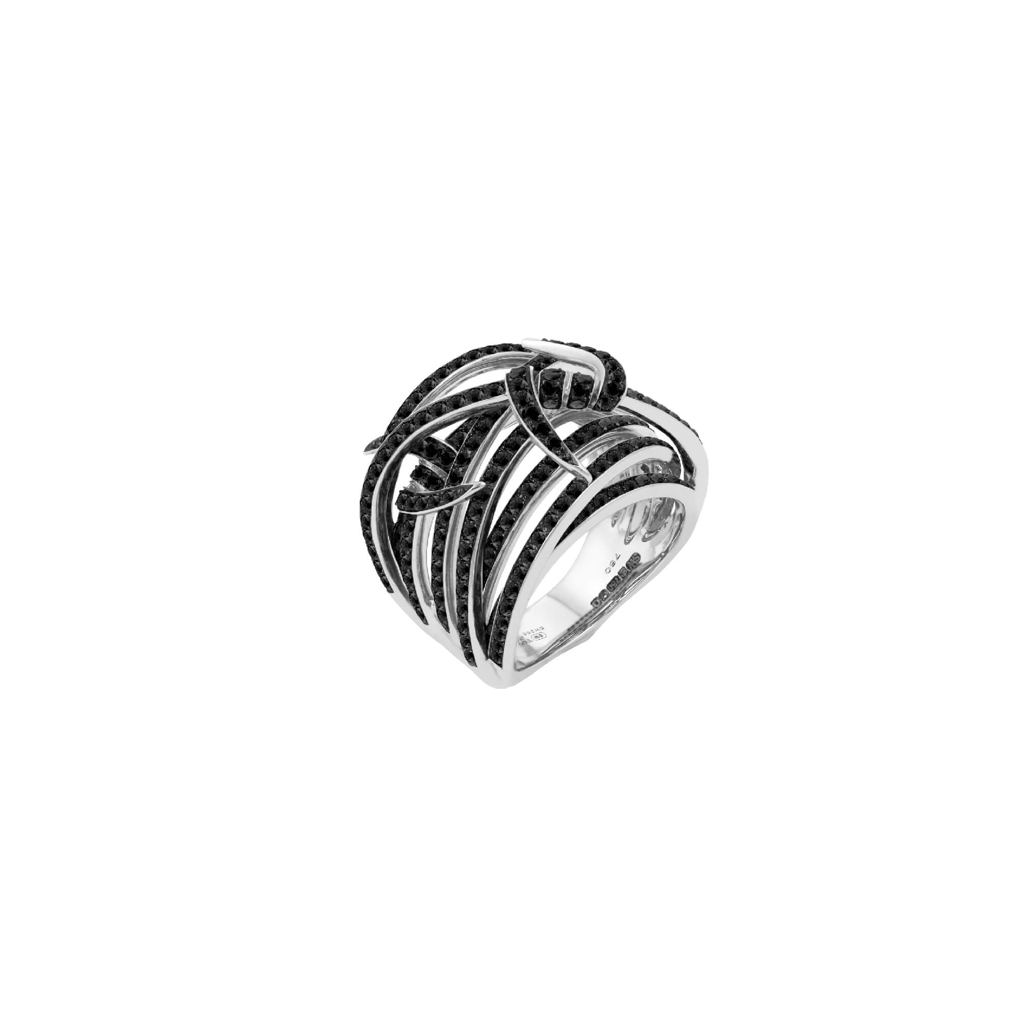White Gold and Black Diamond Knot Bandeau Ring | Thorn