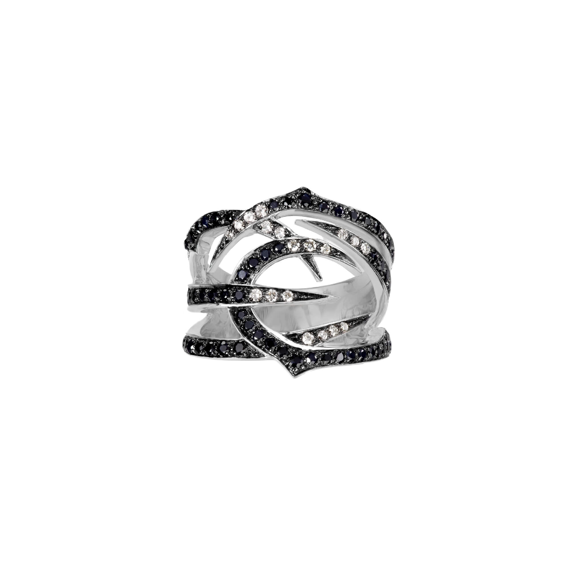 White Gold Ring with Black Diamond | Thorn