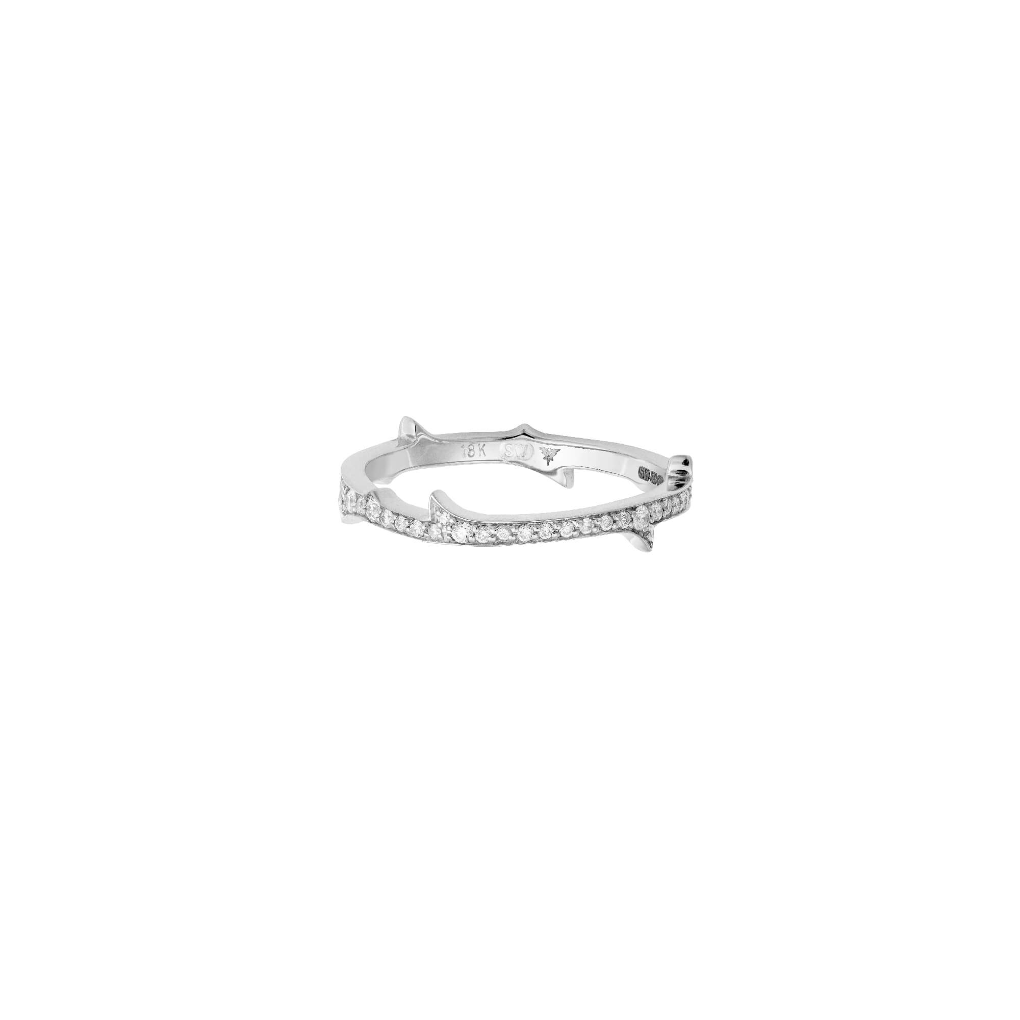 White Gold Stem Ring with White Diamond | Thorn