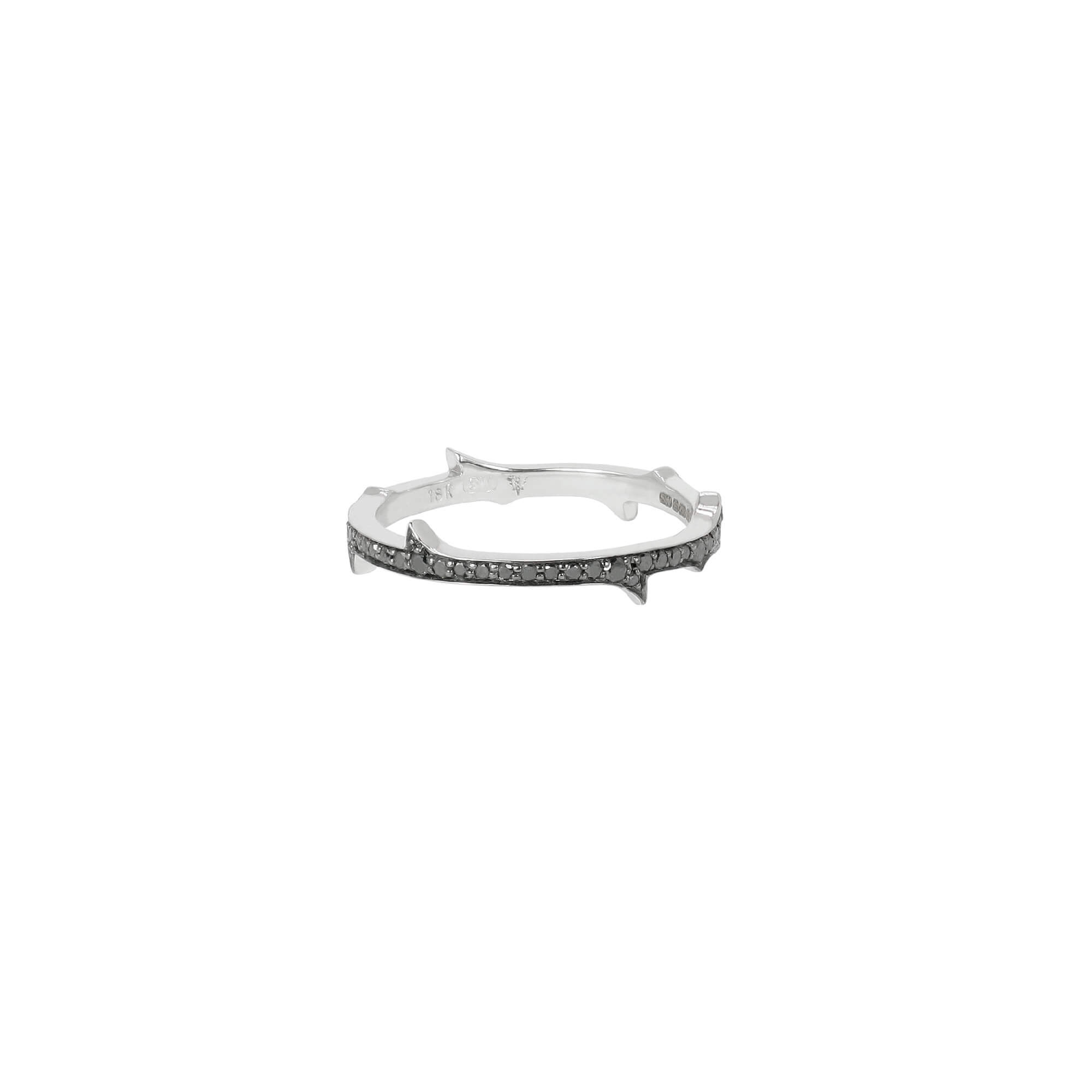 White Gold Stem Ring with Black Diamond | Thorn