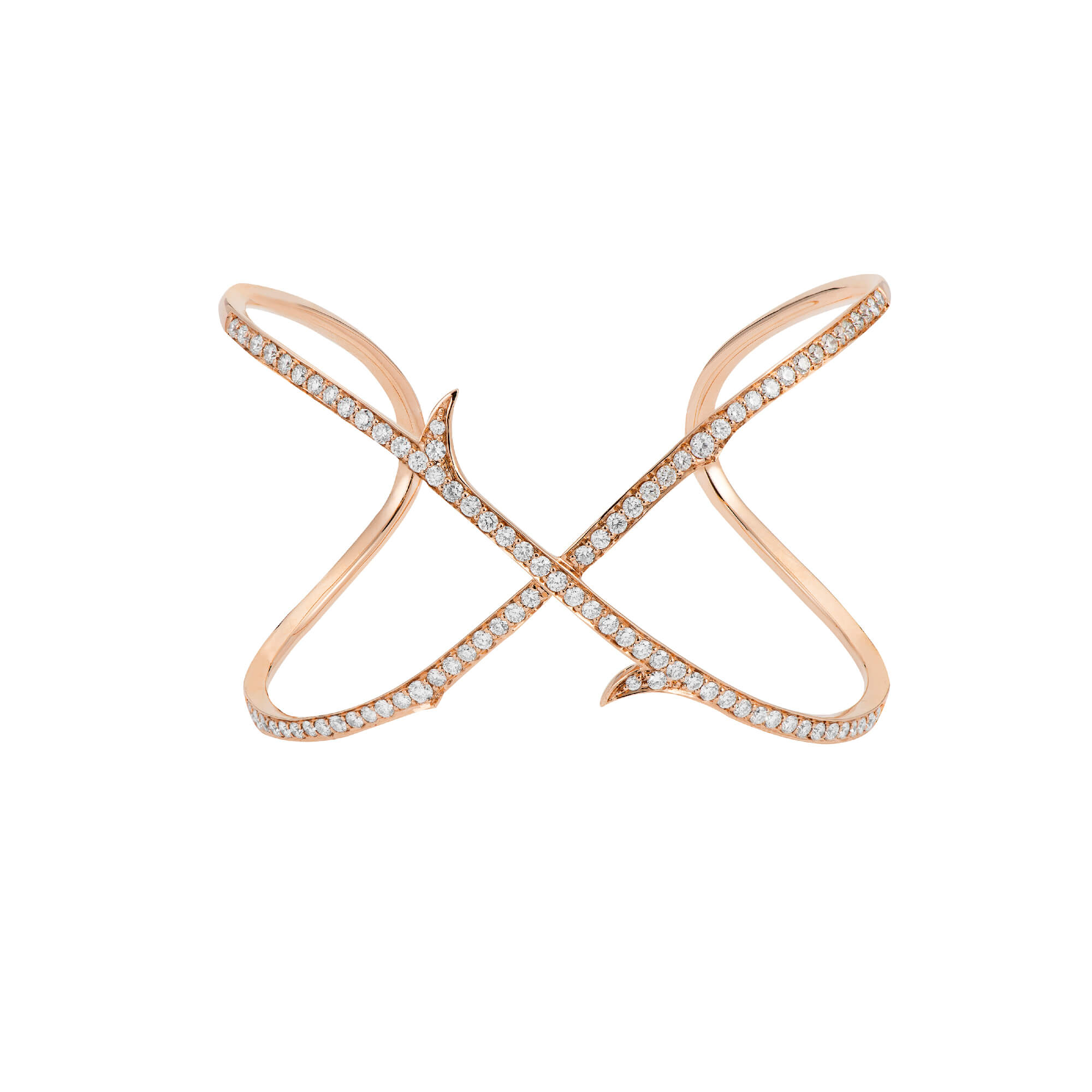 Rose Gold Stem Crossover Cuff with White Diamond | Thorn