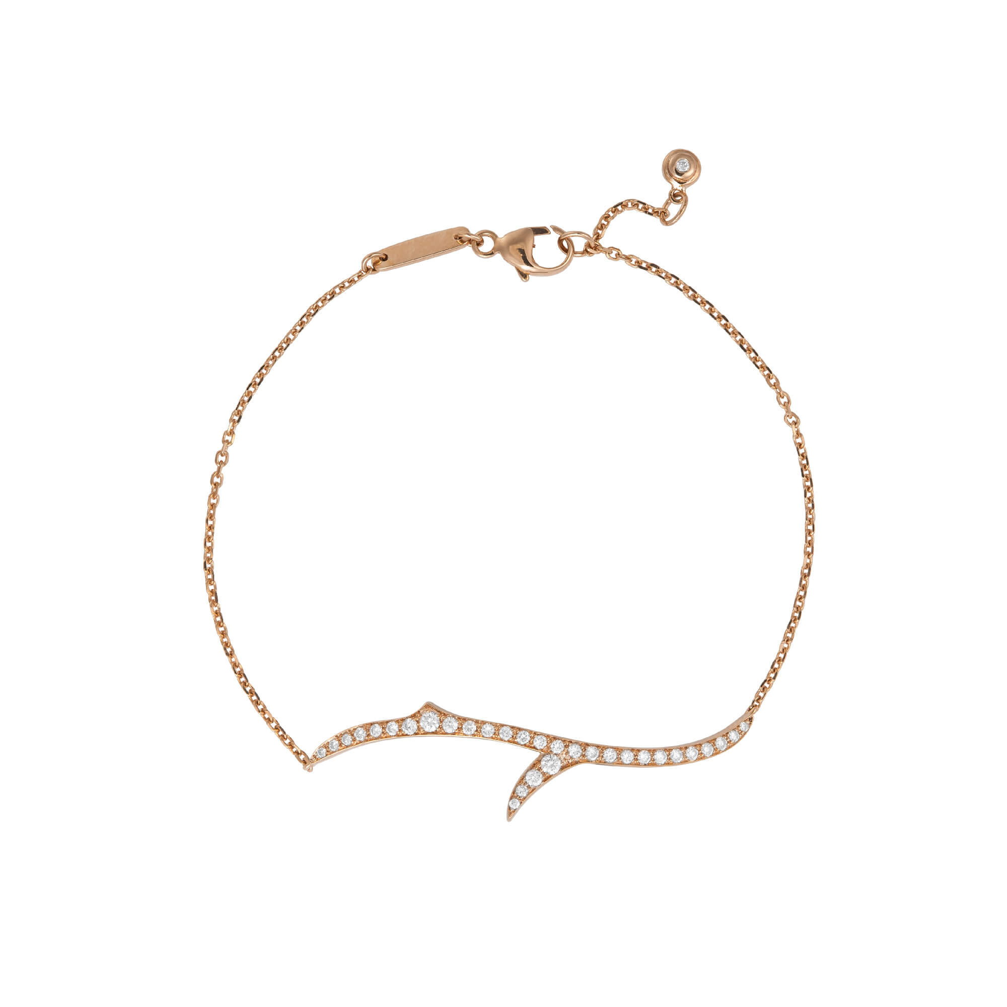 Rose Gold Stem Bracelet with White Diamond | Thorn