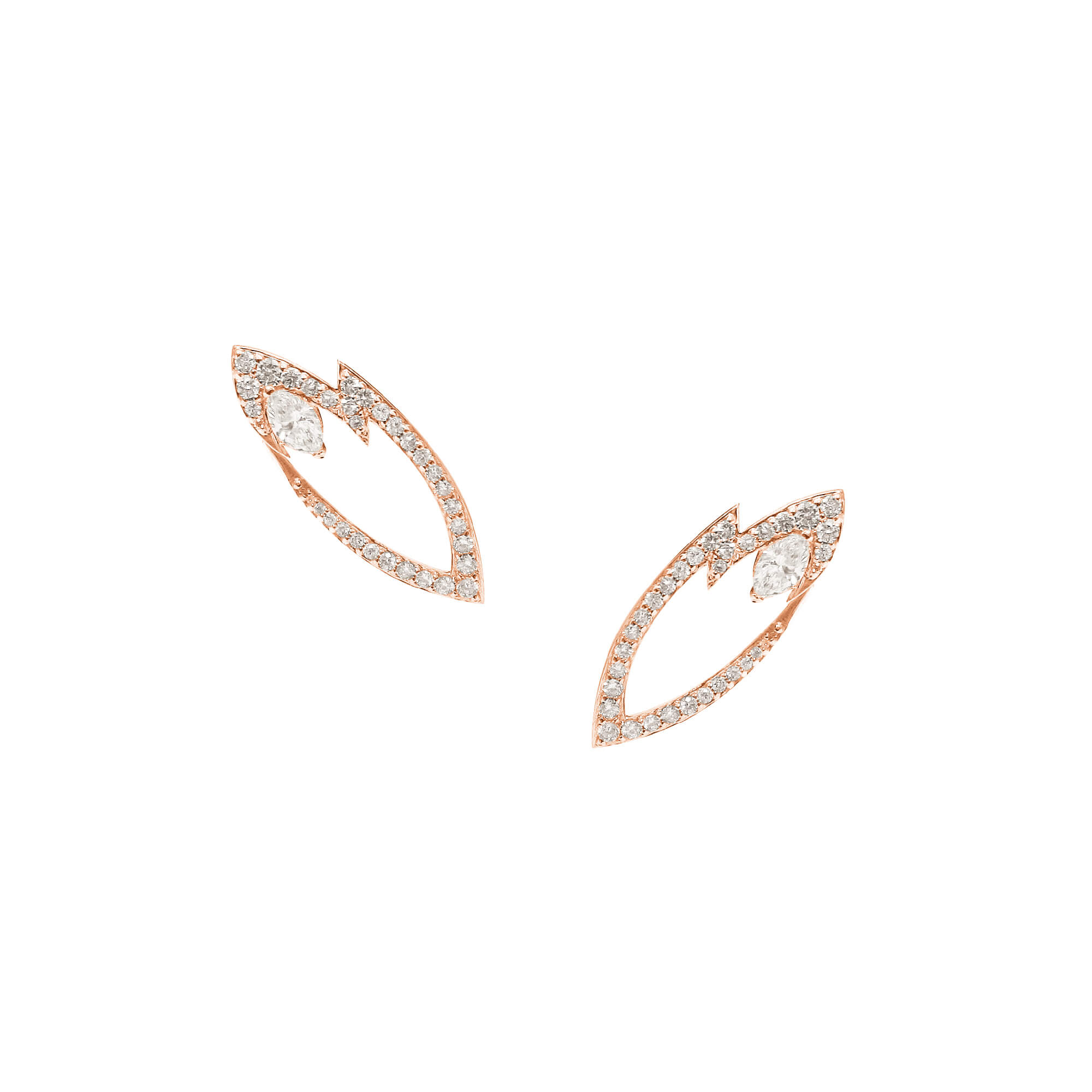 Rose Gold Earrings With White Diamonds | Thorn