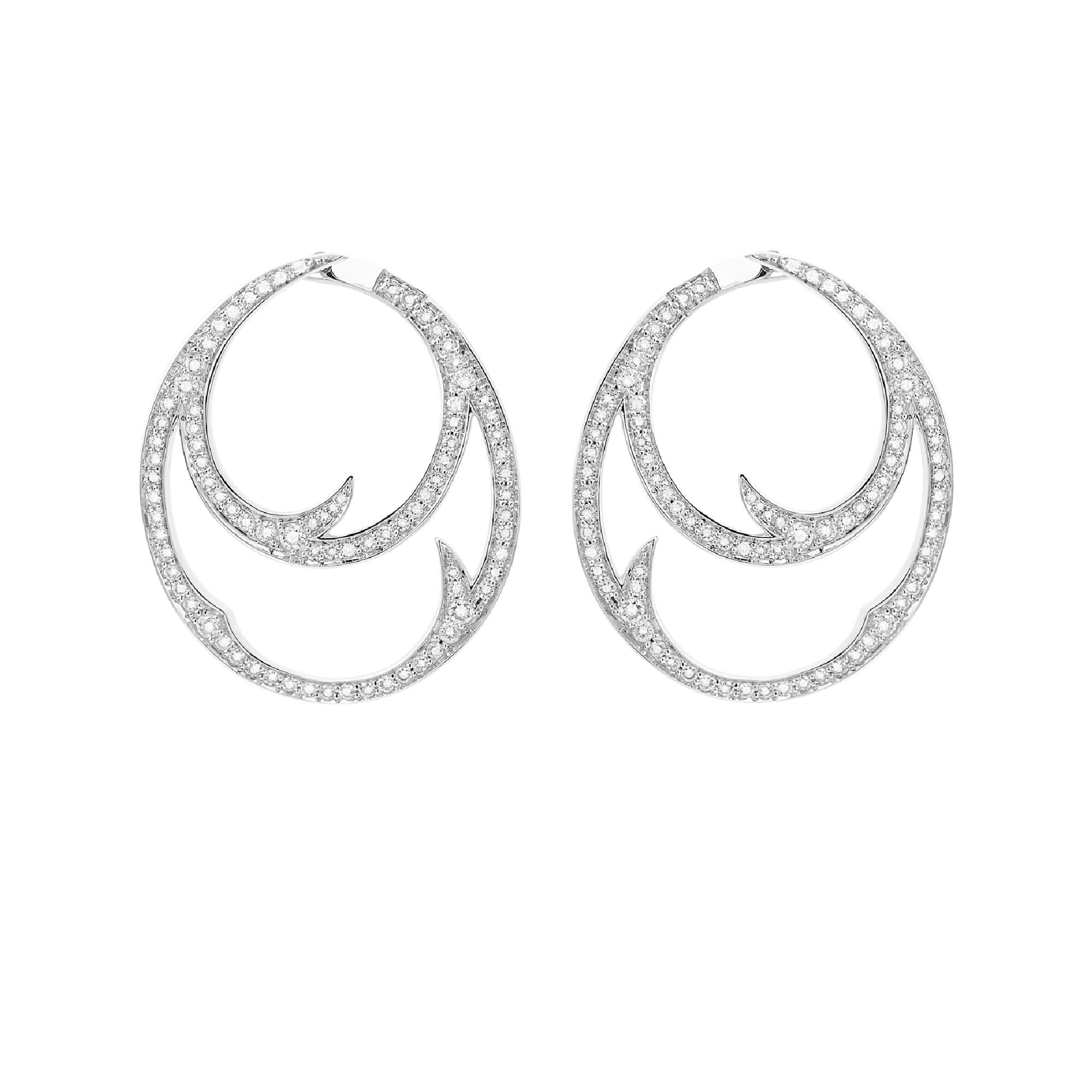 White Gold Double Hoop Earrings with White Diamond | Thorn