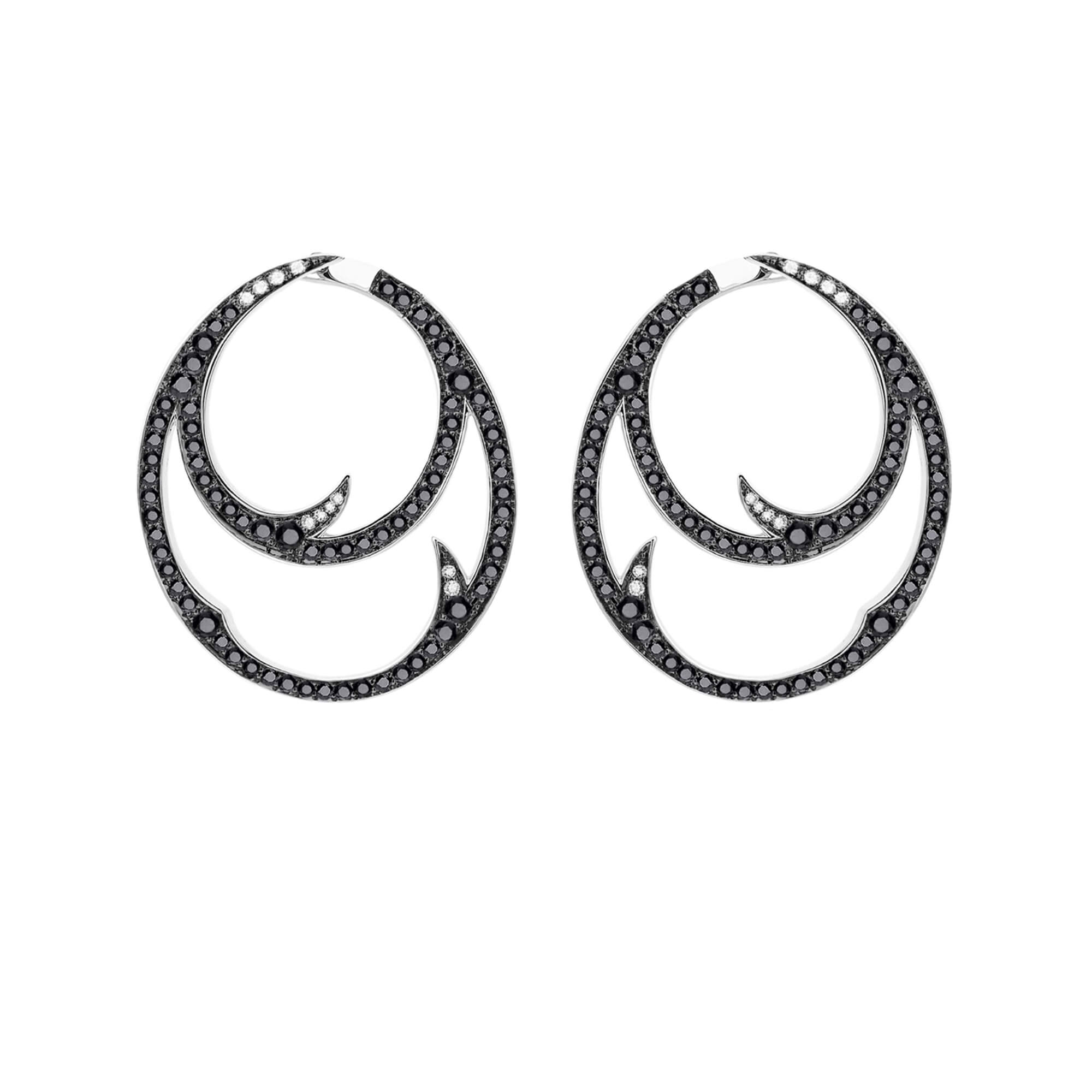 White Gold Double Hoop Earrings with Black Diamond | Thorn