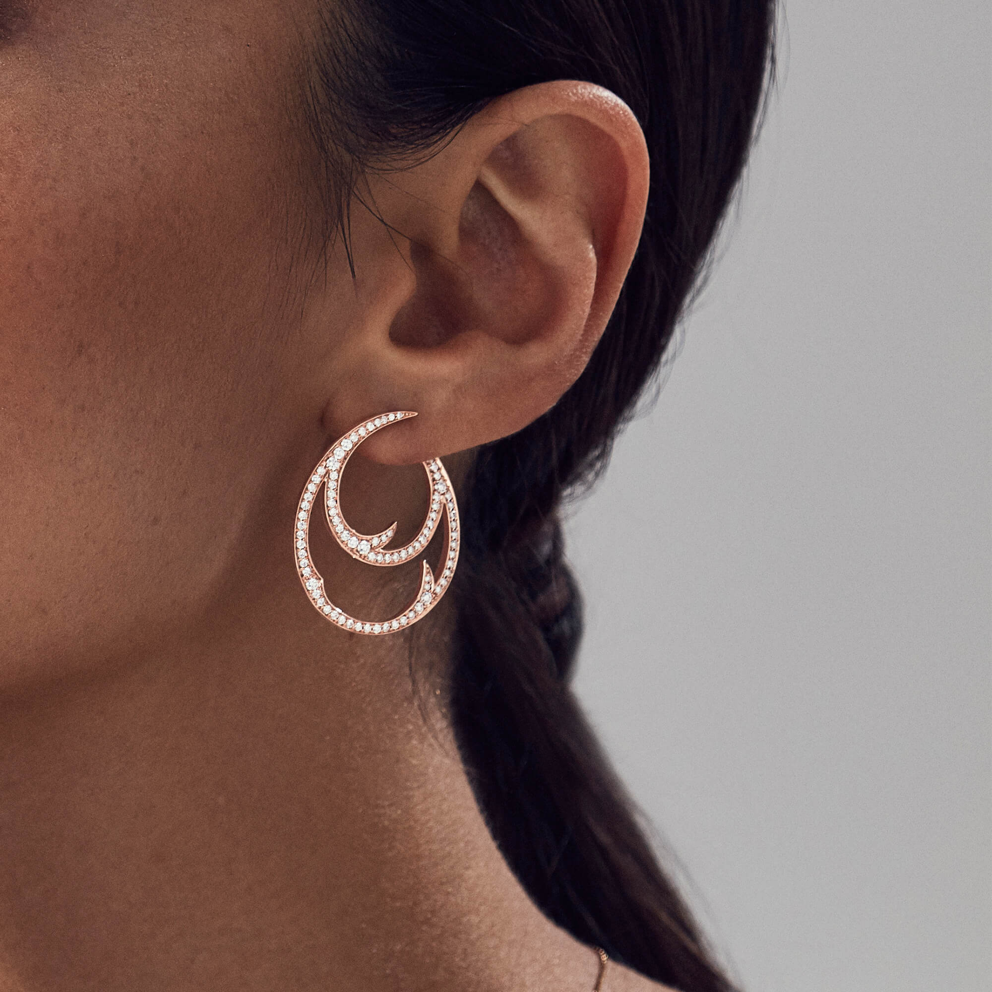 Rose Gold Double Hoop Earrings with White Diamond | Thorn