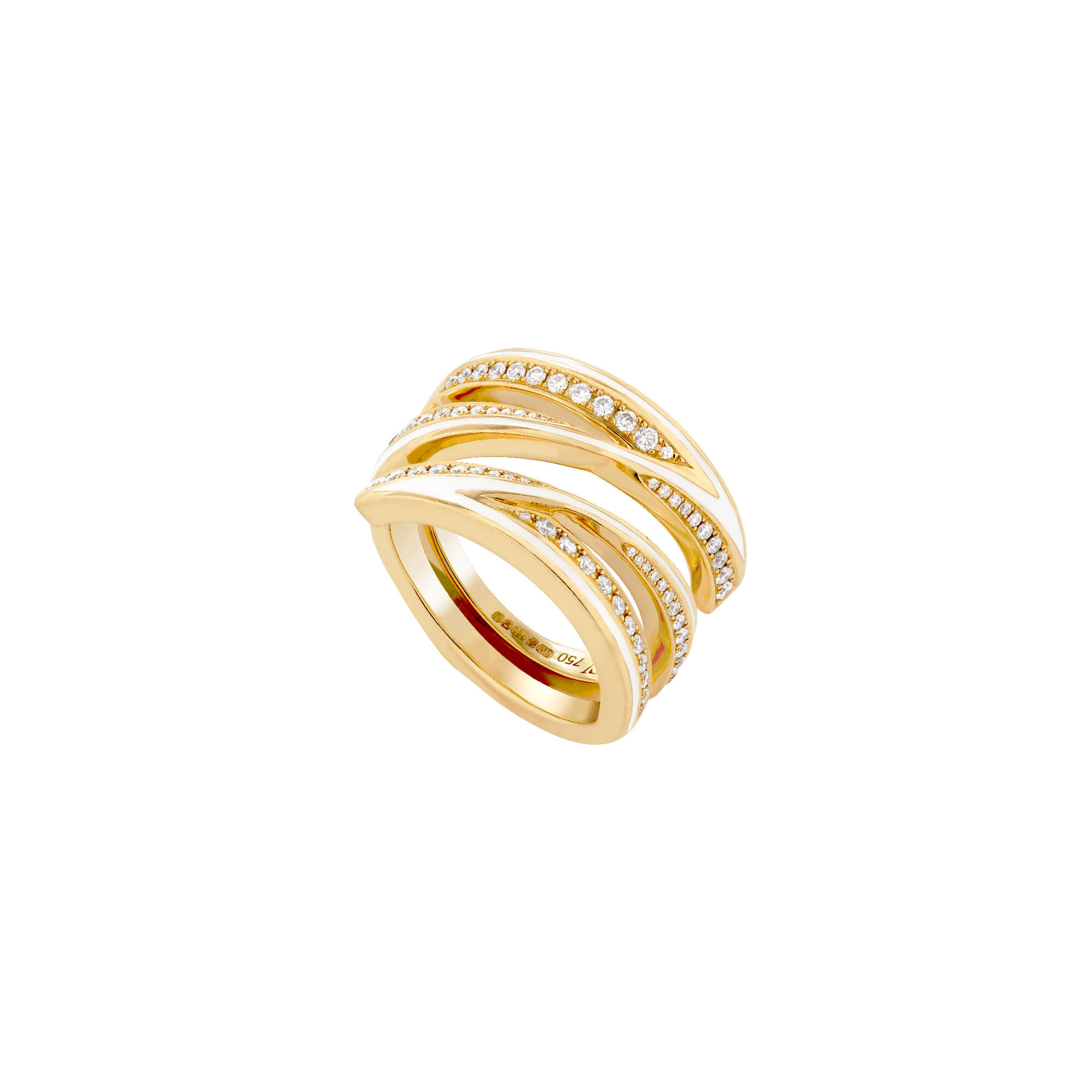 Yellow Gold and White Diamond Infinity Ring | Vertigo