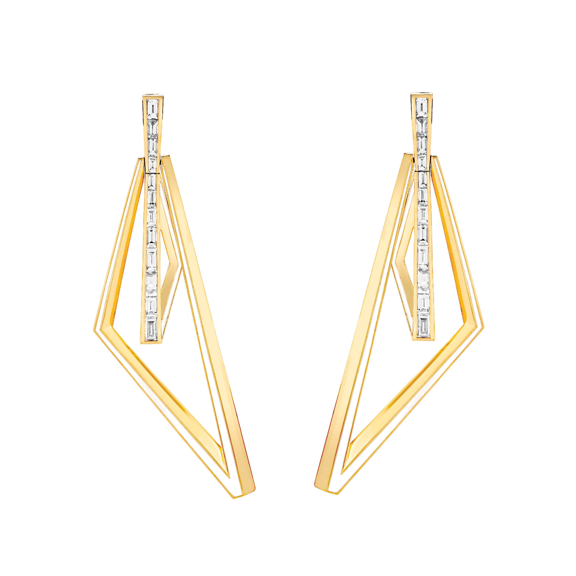 Yellow Gold and White Diamond Obtuse Hoops | Vertigo