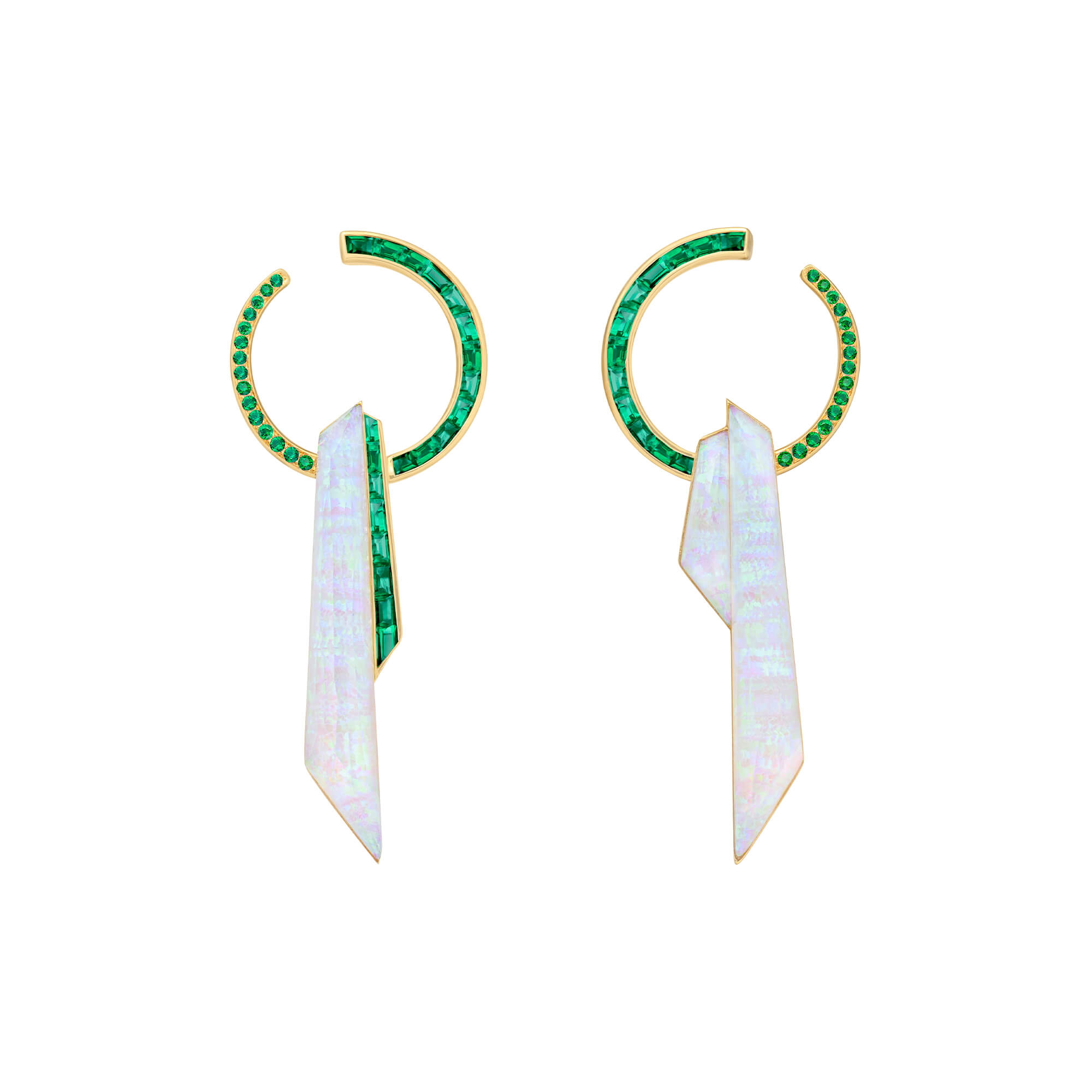 Crystal Haze Shard Hoop Emerald Earrings | CH₂