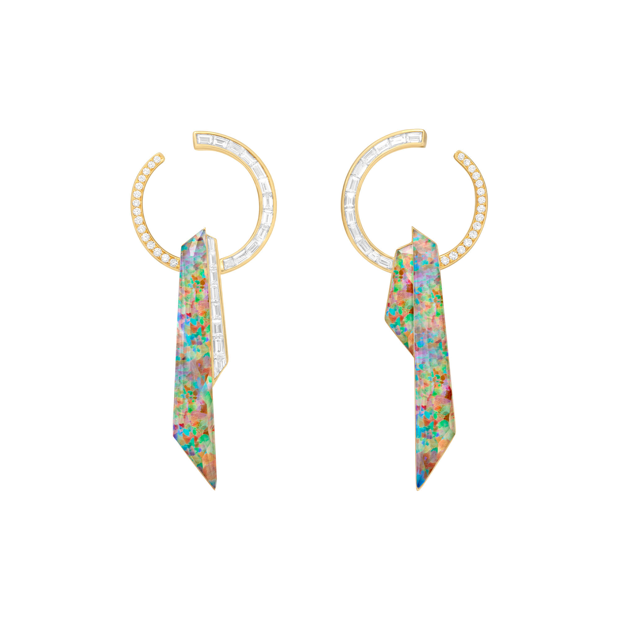 Fire Opalescent Crystal Haze Shard Hoop Earrings | CH₂