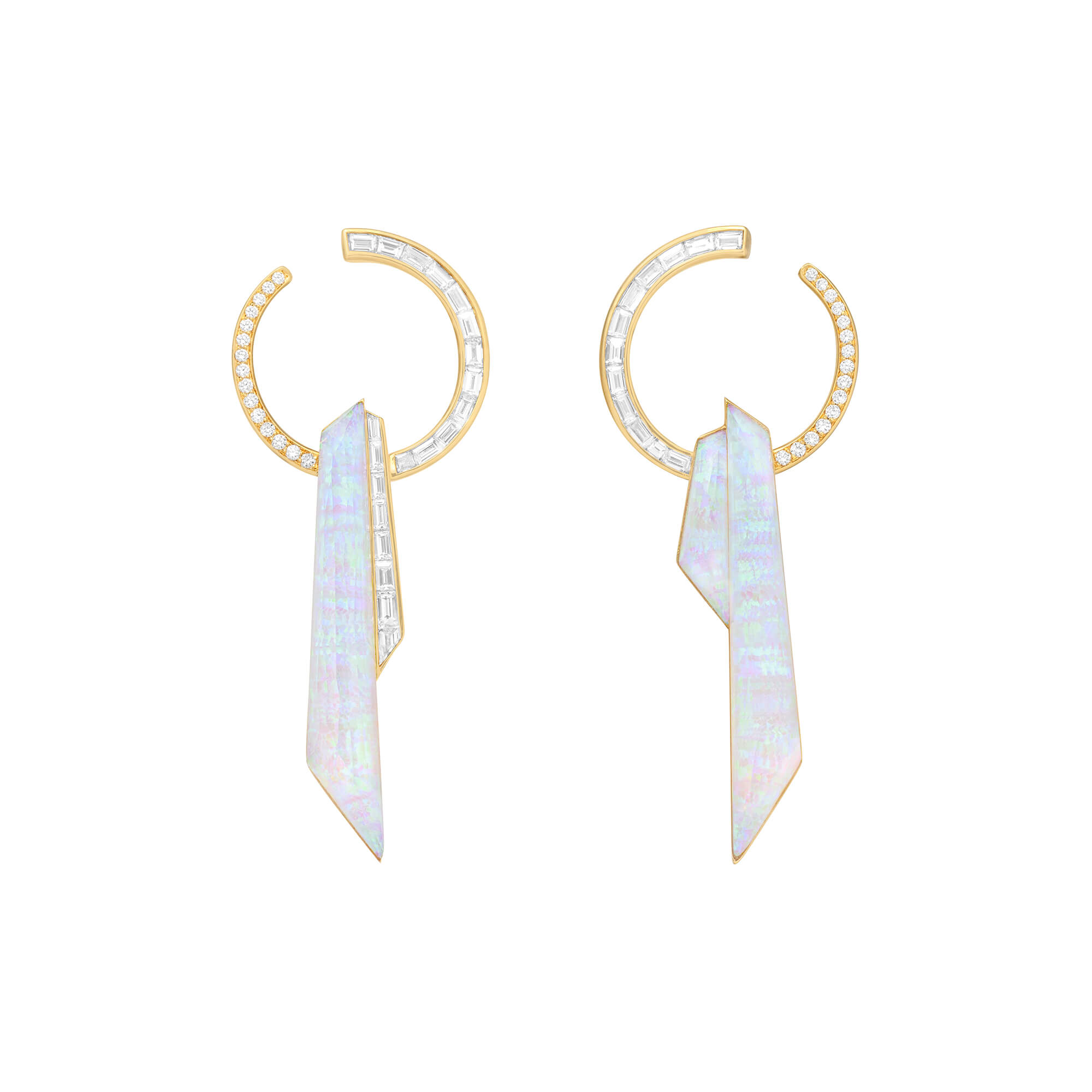 White Opalescent Crystal Haze Shard Hoop Earrings | CH₂