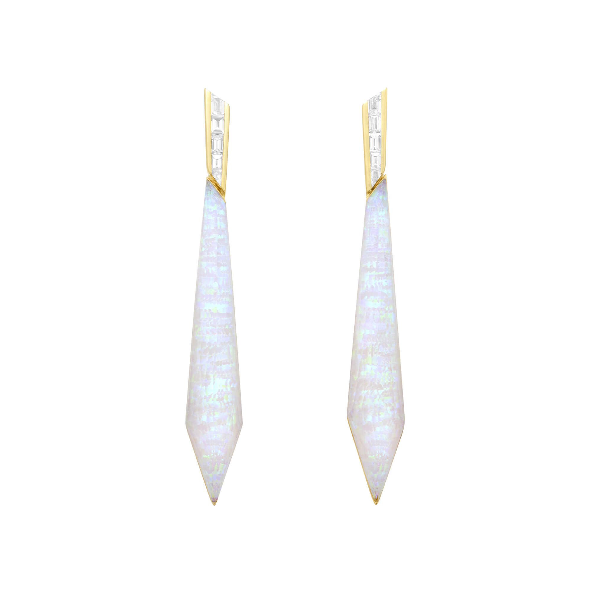 White Opalescent Crystal Haze Stiletto Earrings | CH₂
