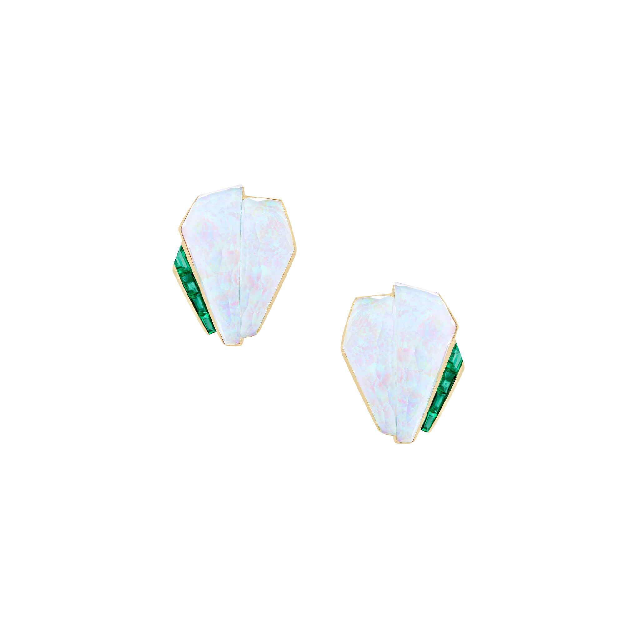 White Opalescent Crystal Haze Cuff Emerald Earrings | CH₂