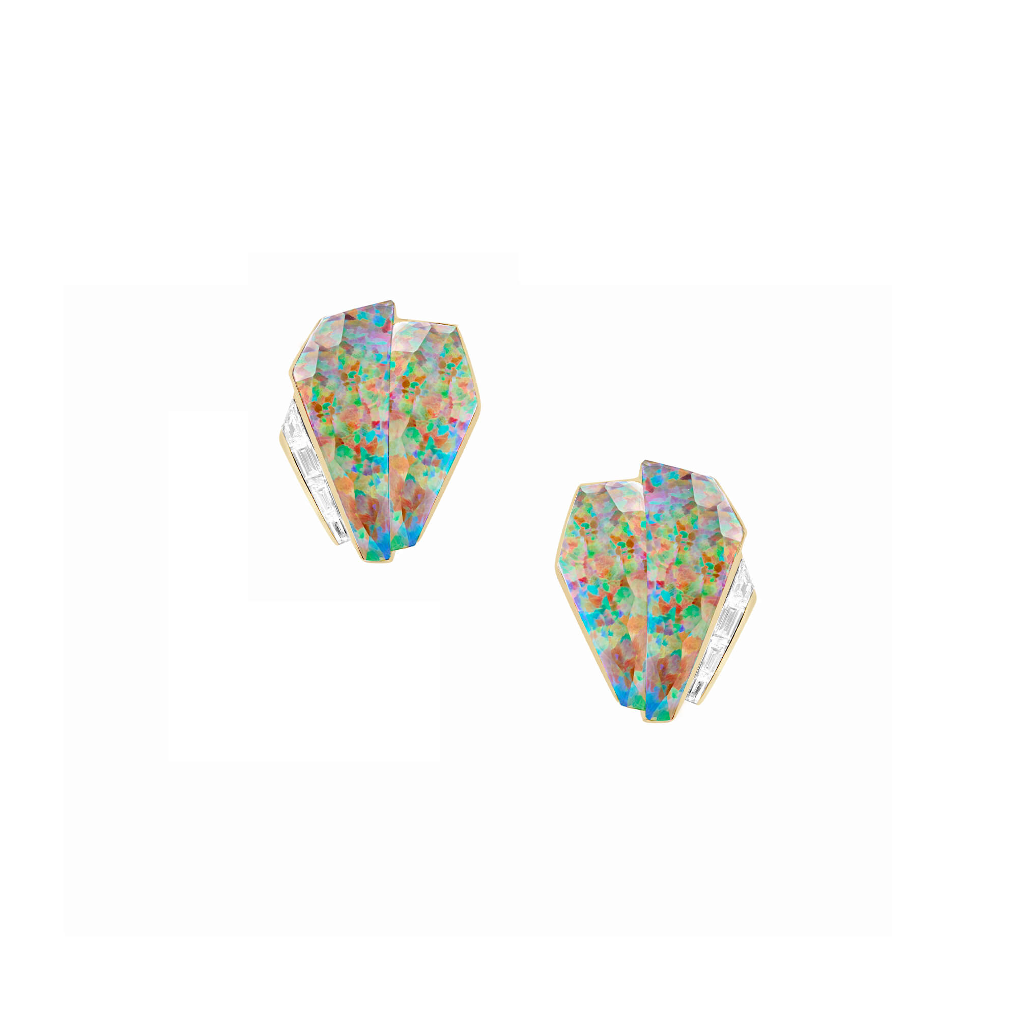 Fire Opalescent Crystal Haze Cuff Earrings | CH₂