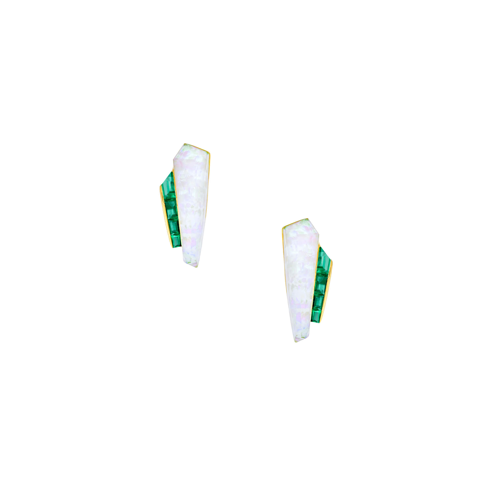 Crystal Haze Slimline Cuff Emerald Earrings | CH₂