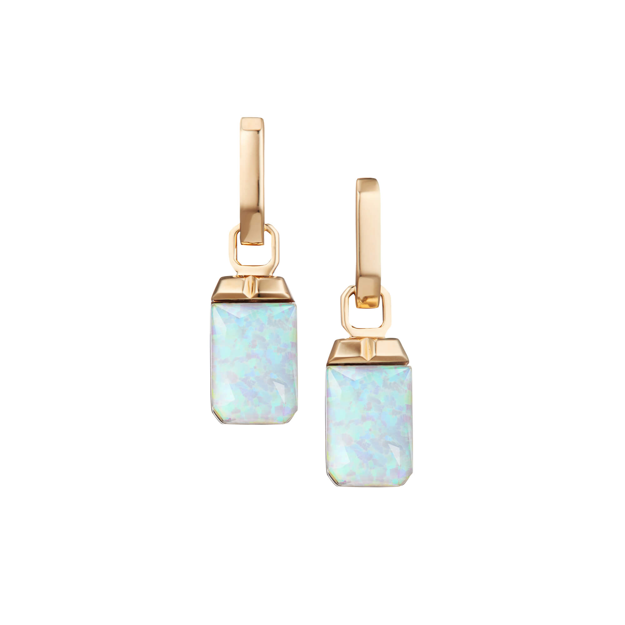 White Opalescent Crystal Haze Tablet Twister Earrings | CH₂