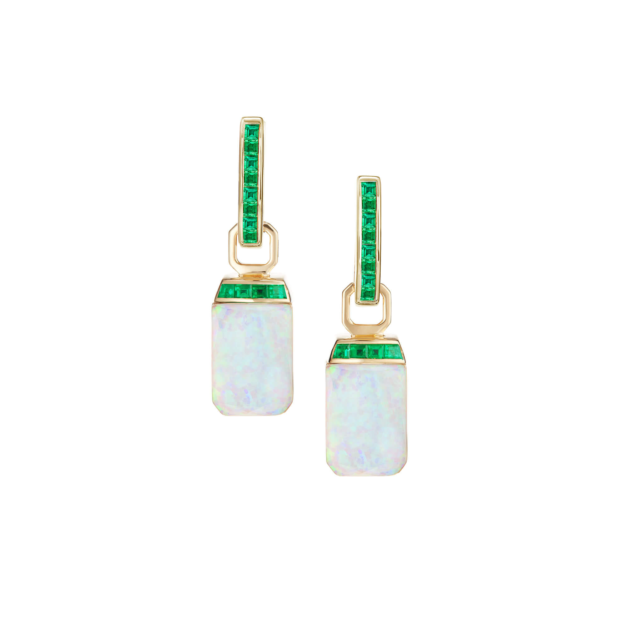 Crystal Haze and Emeralds Tablet Twister Earrings | CH₂
