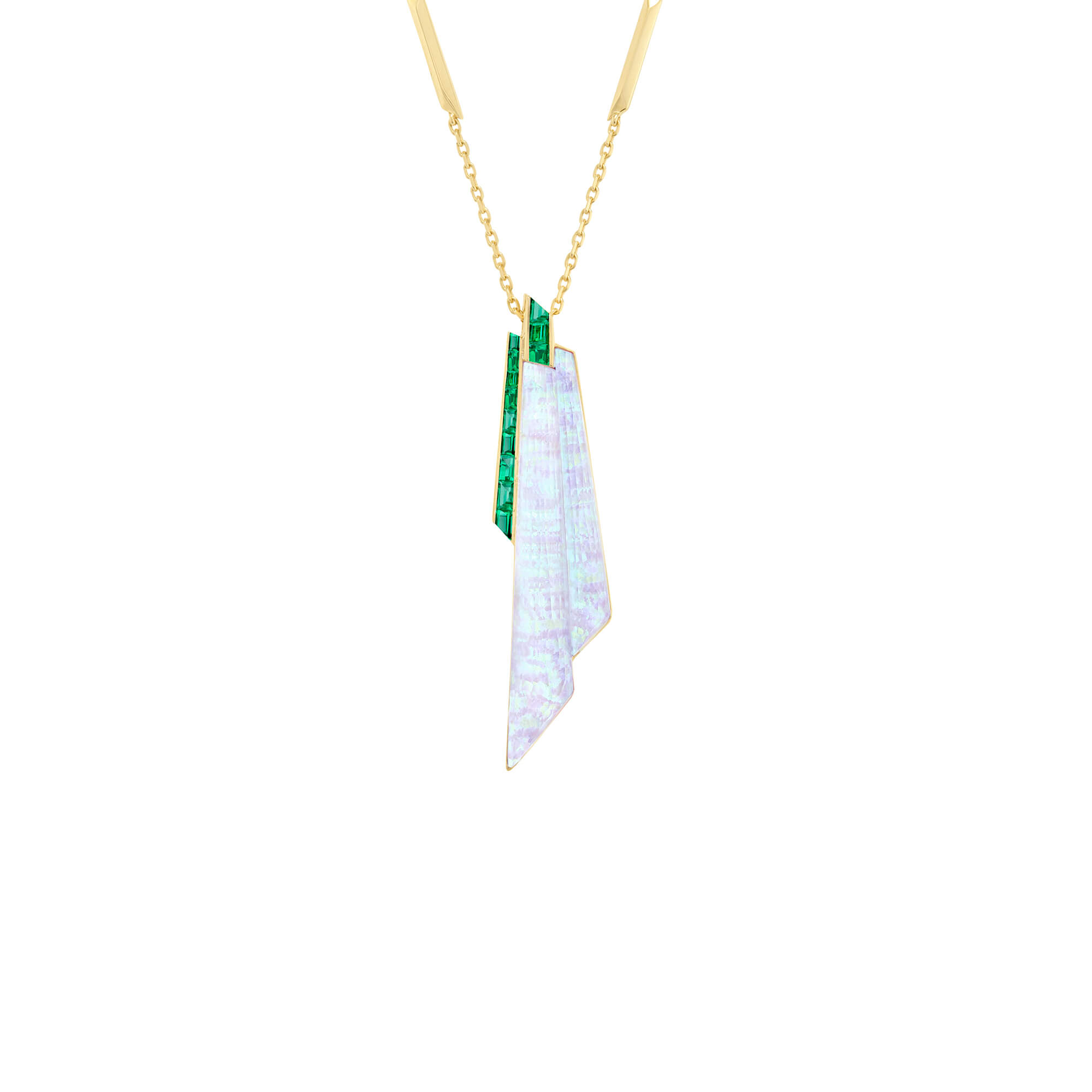 White Opalescent Crystal Haze Shard Emerald Pendant | CH₂