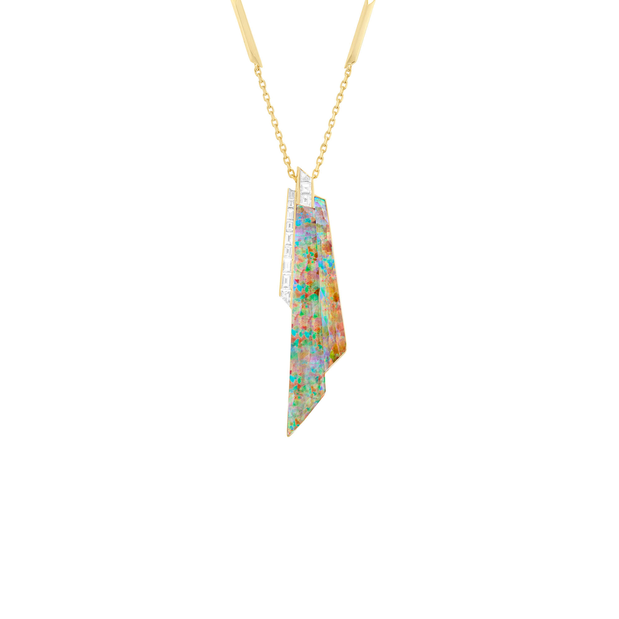 Fire Opalescent Crystal Haze Shard Pendant | CH₂