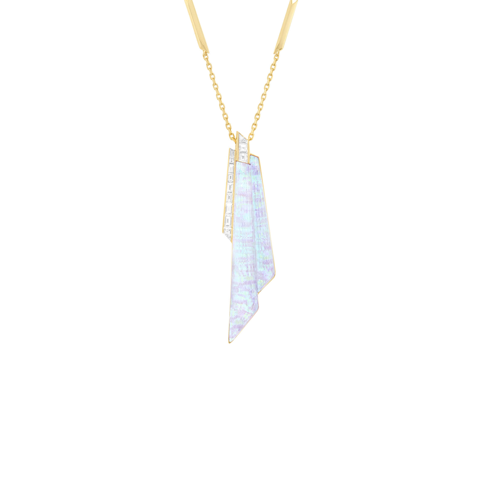 White Opalescent Crystal Haze Shard Pendant | CH₂