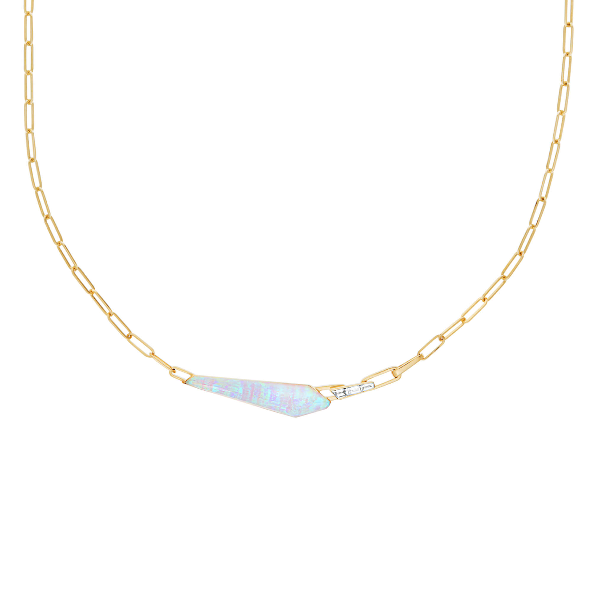 White Opalescent & Diamond Slimline Shard Linked Choker | CH₂