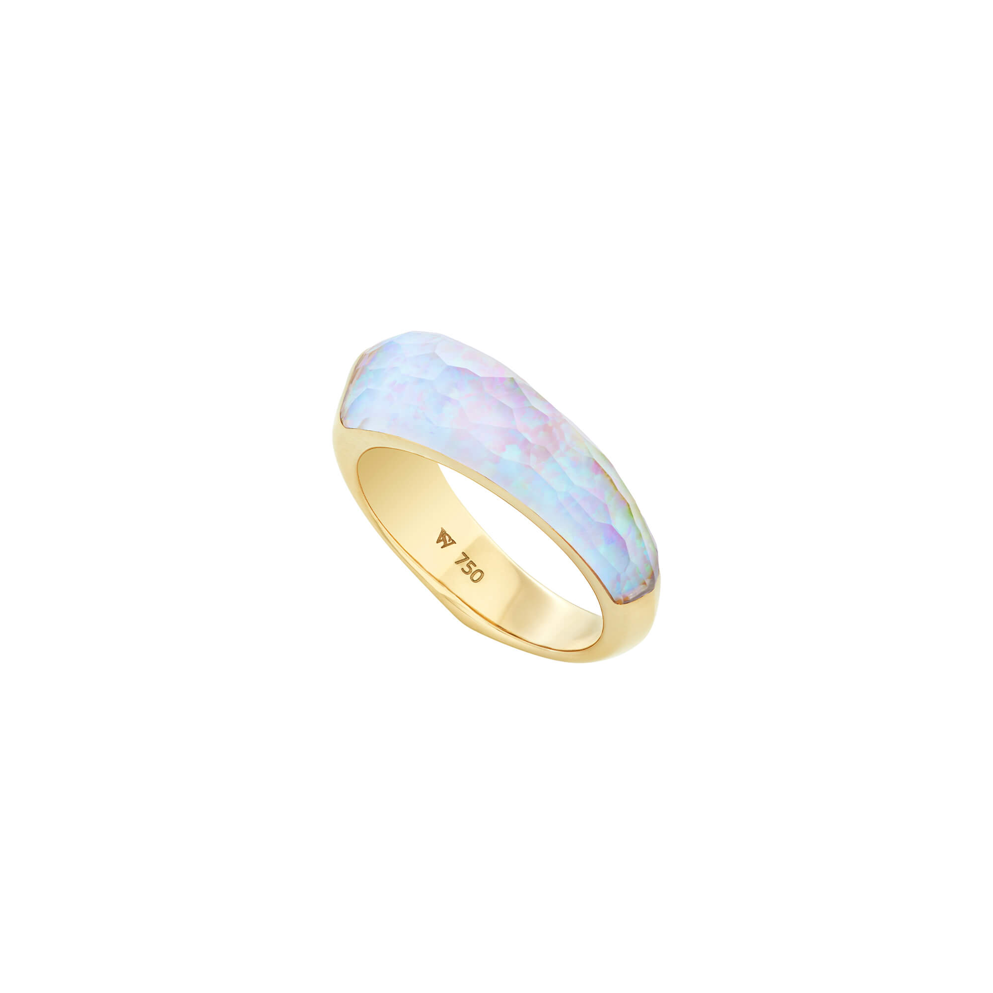 White Opalescent Crystal Haze Shard Stack Ring | CH₂