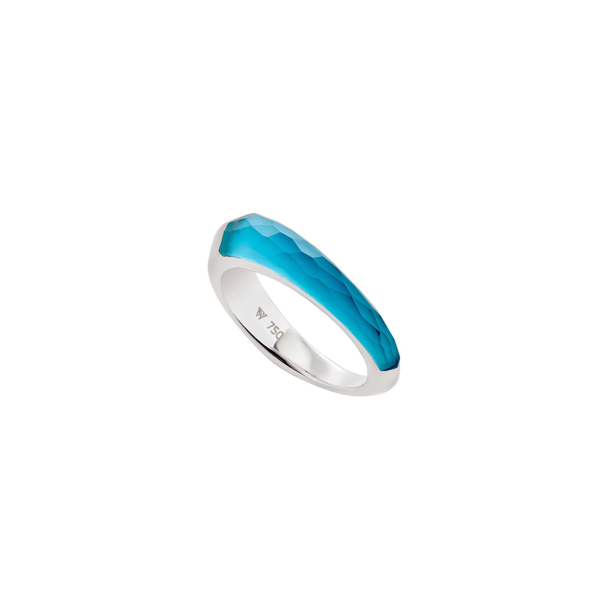 Turquoise Crystal Haze Slimline Shard Stack Ring | CH₂