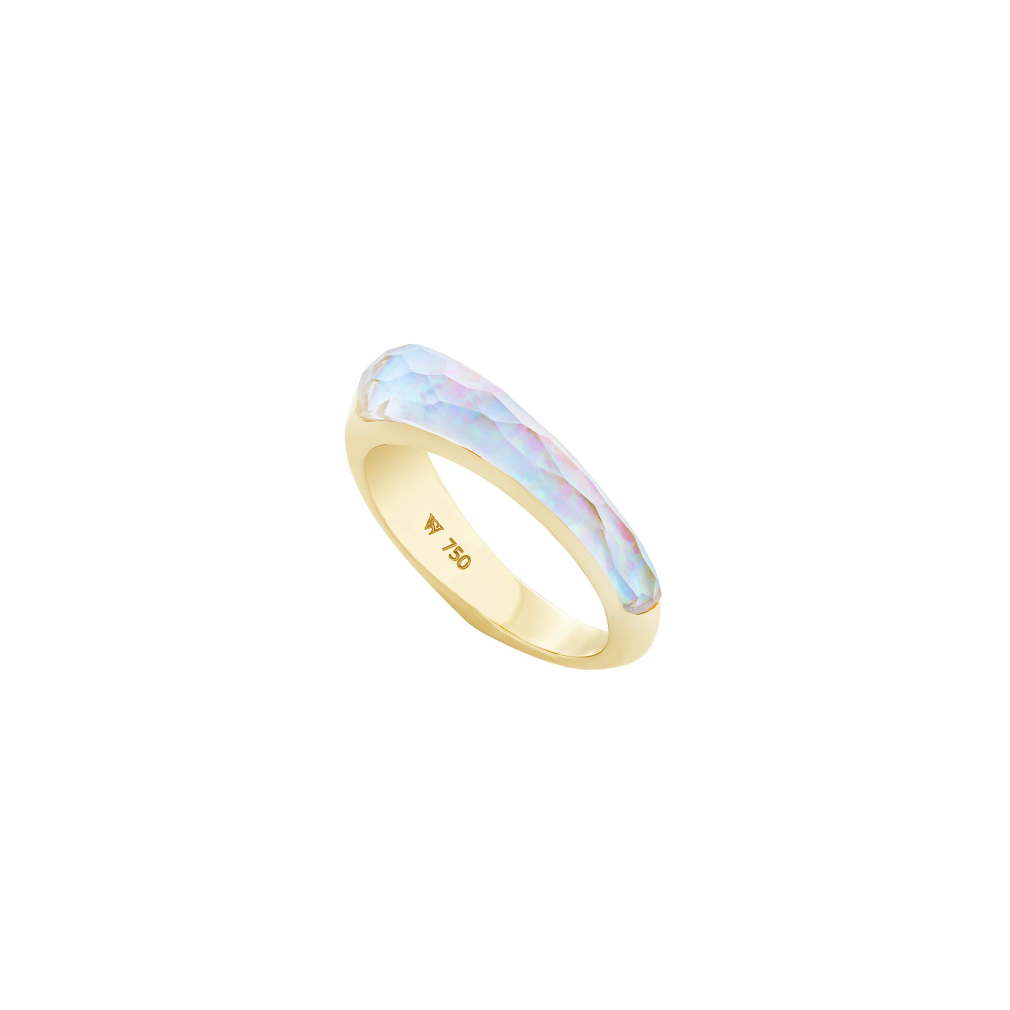 White Opalescent Crystal Haze Slimline Shard Stack Ring | CH₂