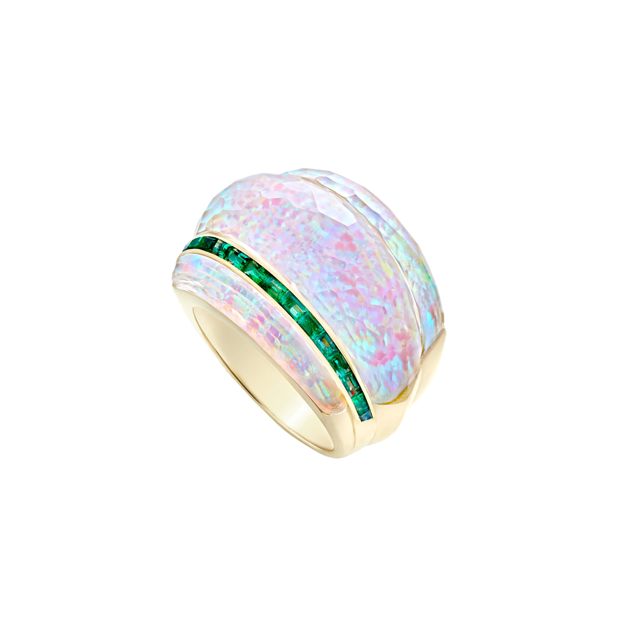White Opalescent Crystal Haze and Emeralds Cocktail Ring | CH₂
