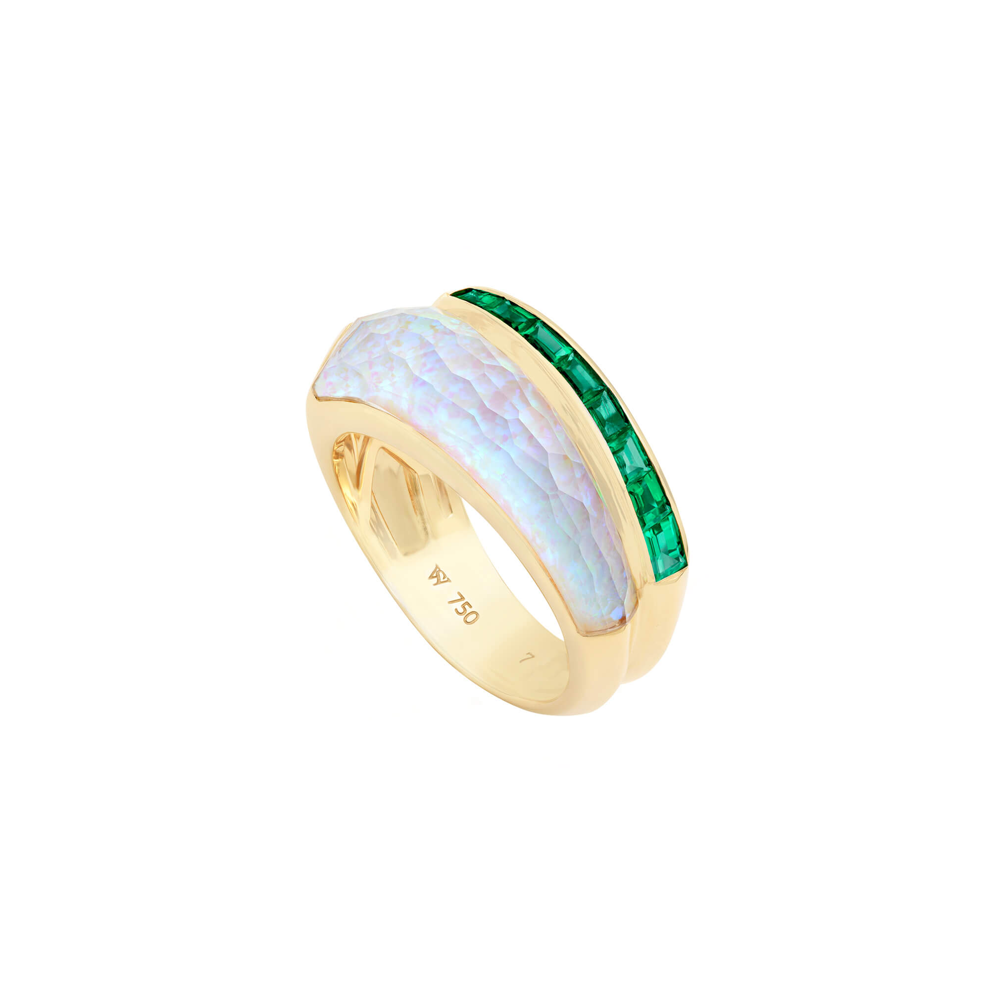 White Opalescent Crystal Haze Slimline Emerald Ring | CH₂