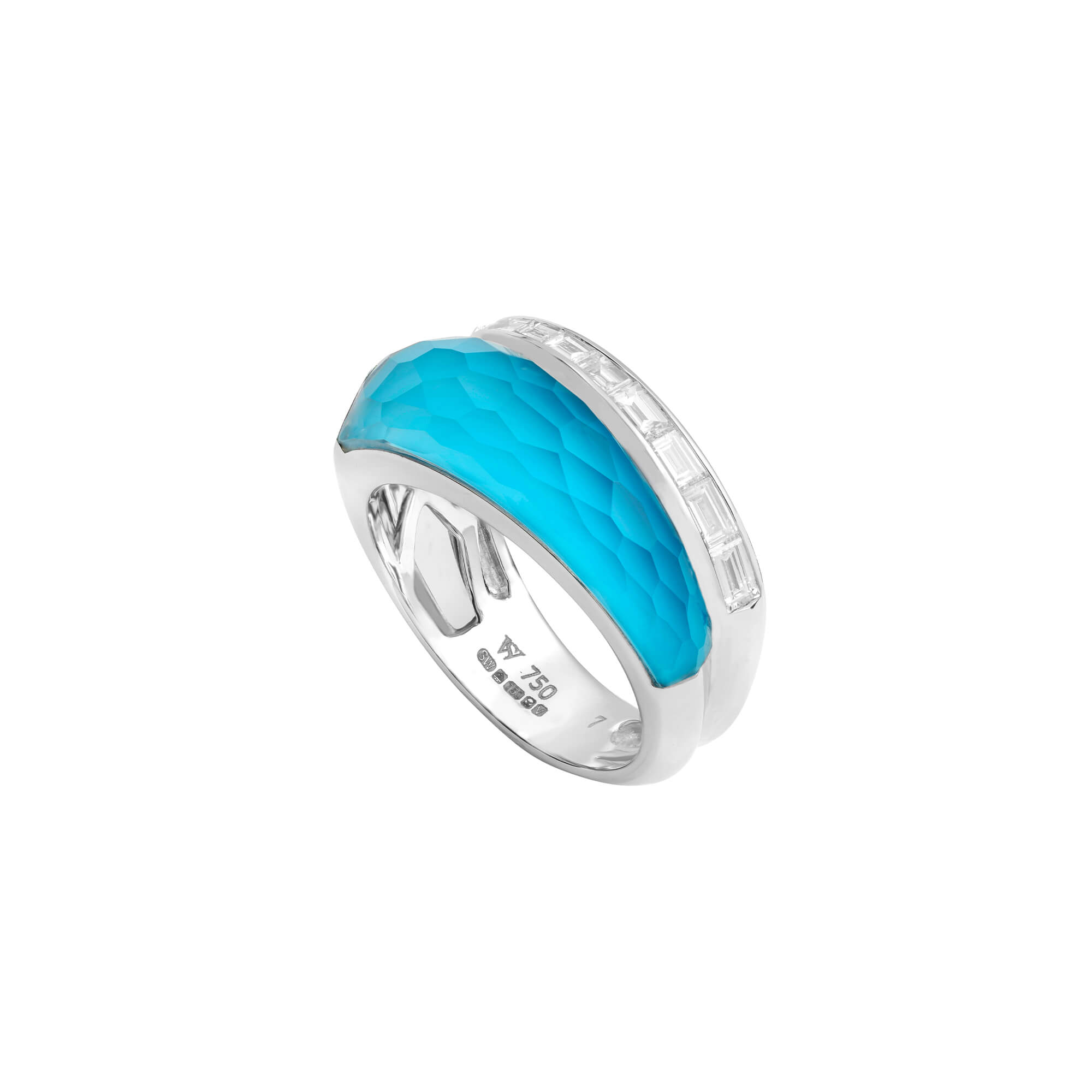 Turquoise Crystal Haze Slimline Ring | CH₂