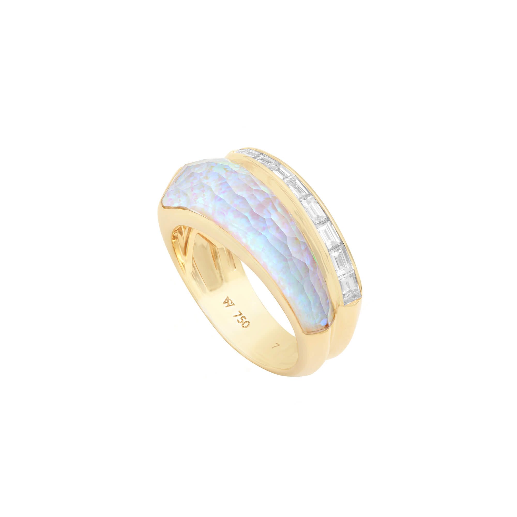 White Opalescent Crystal Haze Slimline Ring | CH₂
