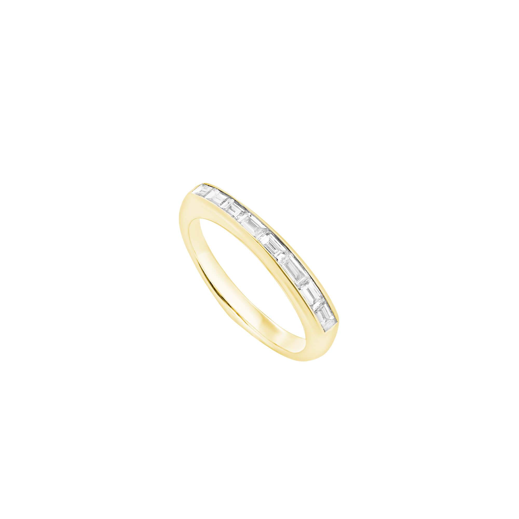 White Diamond and Yellow Gold Baguette Stack Ring | CH₂