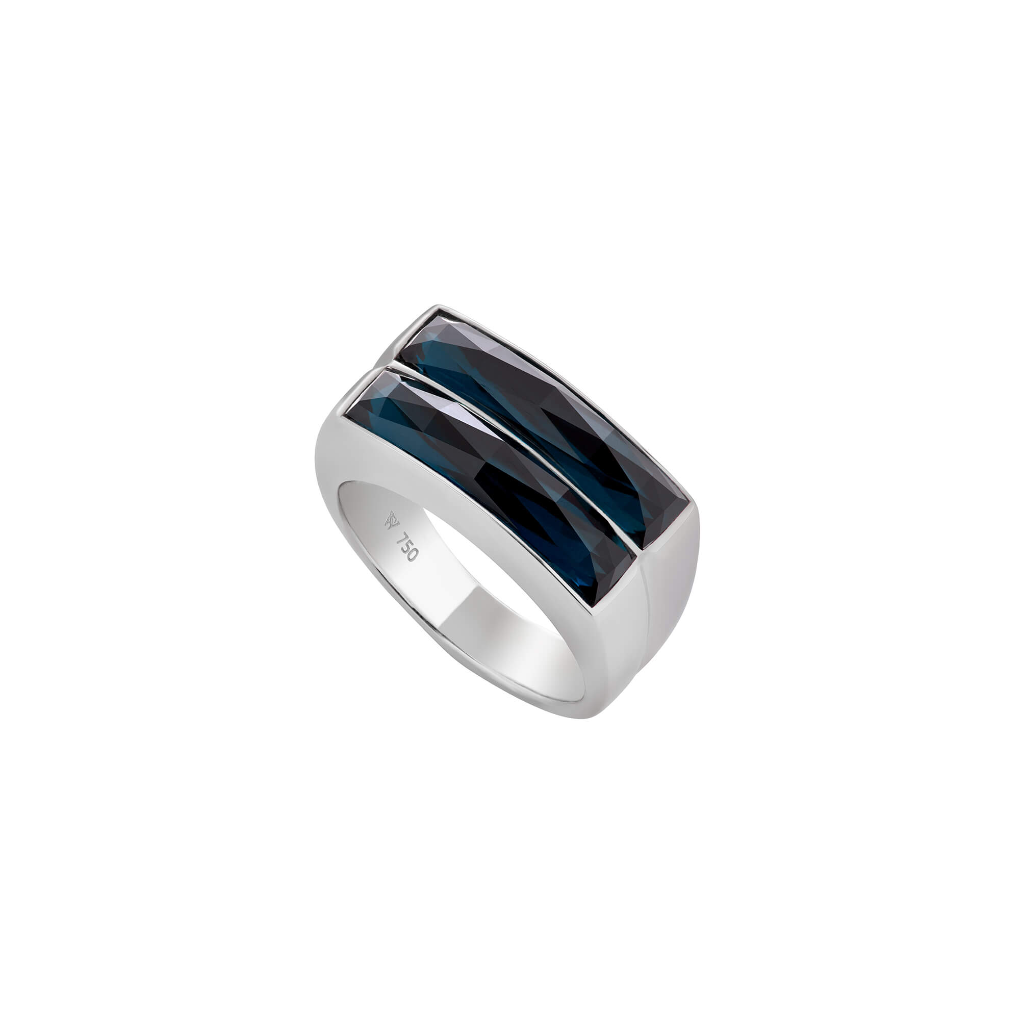 Hematite Crystal Haze Double Row Ring | CH₂