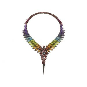 An image of a Stephen Webster rainbow gemstone Magnipheasant necklace