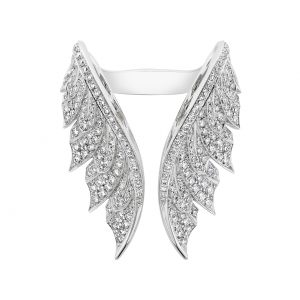 An image of a Stephen Webster white gold diamond Magnipheasant open wing ring