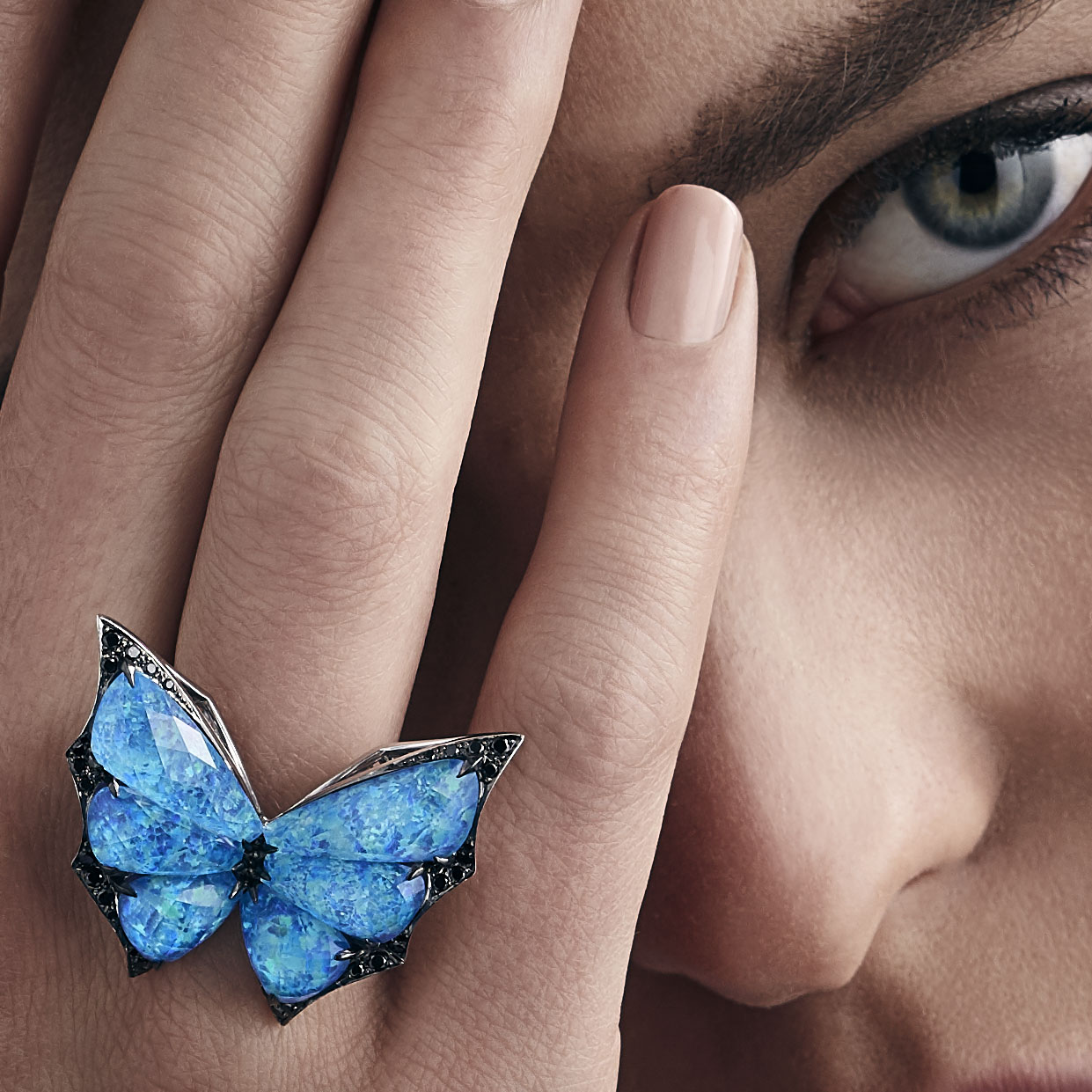Stephen Webster's Fly by Night Black Opalescent Crystal Haze Ring.