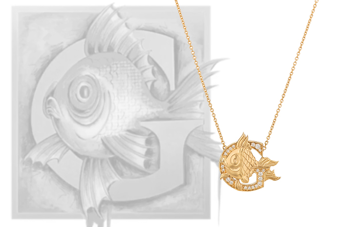 Stephen Webster's Fish Tales G is for Goldfish necklace set in 18ct yellow Gold accentuated with white Diamonds.