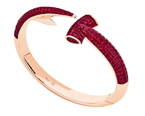 Stephen Webster's Hammerhead Bangle with Rubies set in 18ct rose Gold.